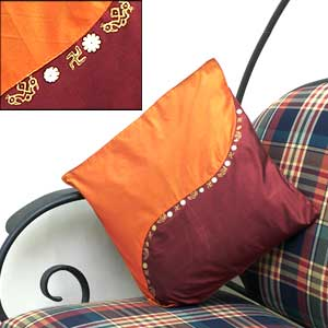 Orange Maroon Cushion Cover
