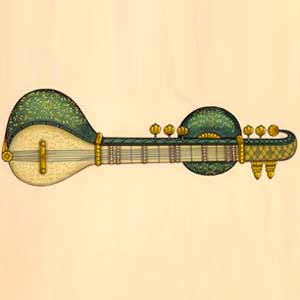 Sitar Painting with Golden Work