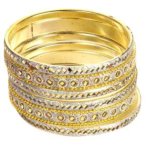 Golden-Grayish  Mirrorwork Bangle Set