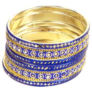 Blue Mirrorwork Lac Bangle  Set