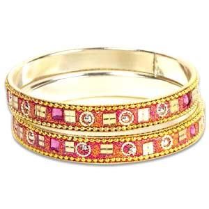 Pink Kundan Bangle Set
