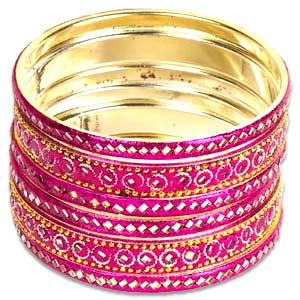 Pink Mirrorwork Lac Bangle Set