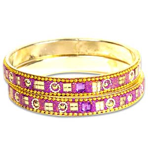 Purple Kundan Bangle Set