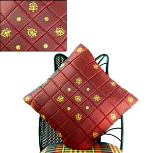 Quilted Silk and Maroon Cushion Covers