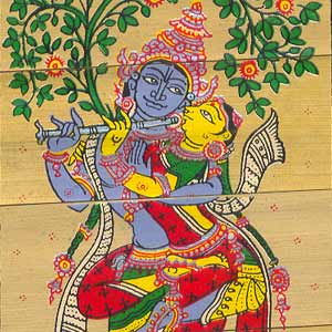 Radha embraces Krishna-Patachitra