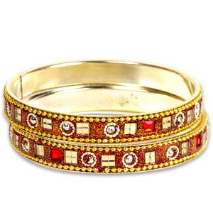 Red-Brown Kundan Bangle Set