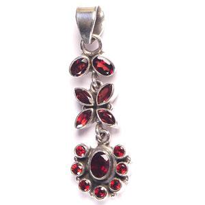 Red Stone Silver Pendant