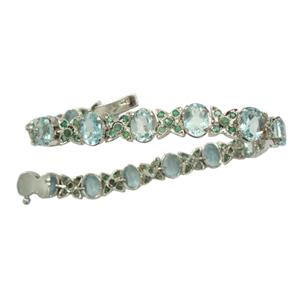 Silver Bracelet Blue Topaz Emerald