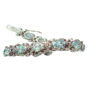 Silver Bracelet Blue Topaz Ruby