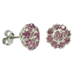 Silver Earring Burmese Ruby