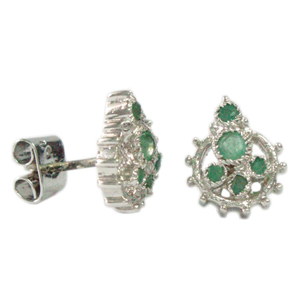 Silver Earring Emeralds