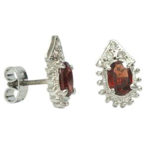Silver Earring Garnet Zircon