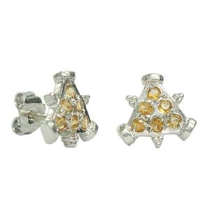 Silver Earring Golden Topaz