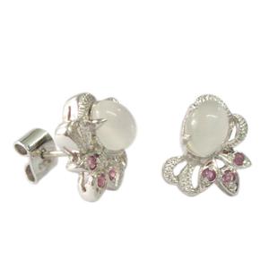 Silver Earring Moonstone Ruby