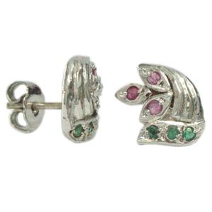 Silver Earring Ruby Emerald