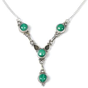 Silver Malachite Stone Necklace