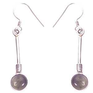 Silver Moon Stone Earrings