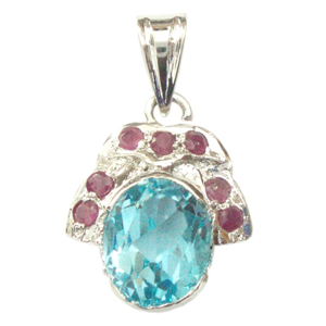 Silver Pendant Blue Topaz Ruby