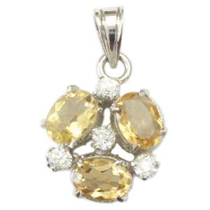 Silver Pendant Golden Topaz Zircon