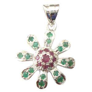 Silver Pendant Ruby Emerald