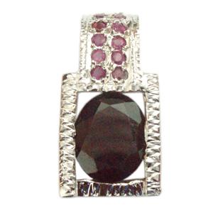 Silver Pendant Ruby Garnet