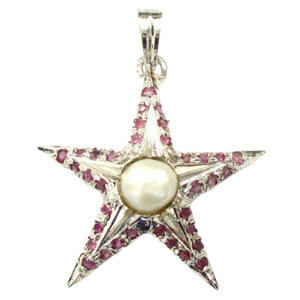 Silver Pendant Ruby Pearl