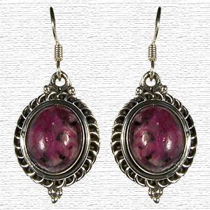 Deep Lavender Silver Earrings