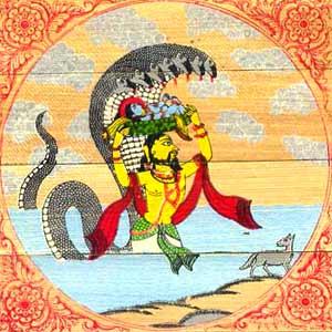 Vasudev takes Krishna to Gokul