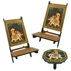 Lovely Hand Painted Chairs N Chowki
