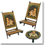 Painted Chair Set with a chowki