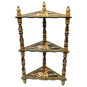 Wooden three-shelf corner stand