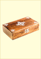 Antique Finish Wooden Box (Silver Flower 8 x 5 inches)