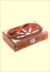 Antique Finish Wooden Box (Silver Sunrise 9 x 6 inches)