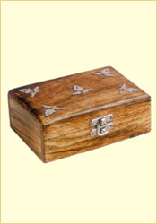 Antique Finish Wooden Box, Metallic Work (Plain-Ambi 6 x 4 inches)