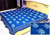 Blue Block Print Bed Spread