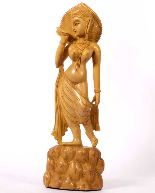 Woman Statue in Wood